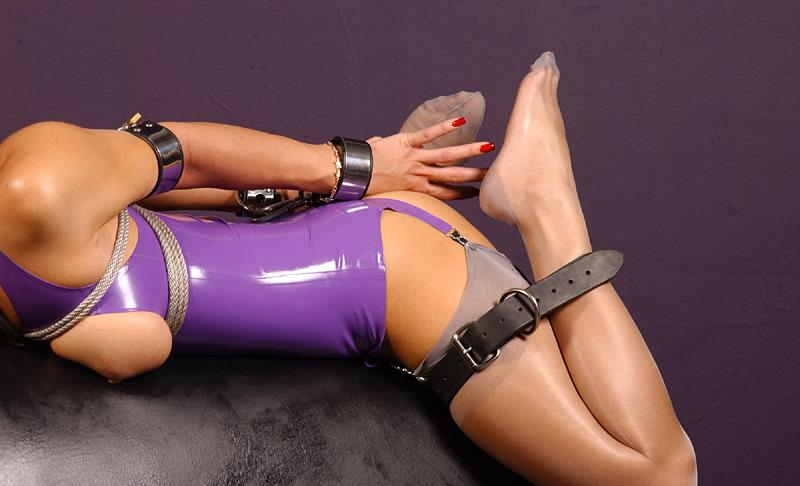 bdsm bondage gagged handcuffs hogtie rubber tied